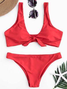 ZAFUL Women Bikinis Push Up Bikini Set Swimwear Knotted Scoop Neck Female Swimsuit Biquini Brazilian Beach Bathing Suit