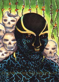 ACEO 'Staph Aureus' Part-Print (1of1) fantasy cartoon skulls frogs Halloween
