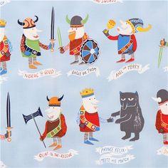 light blue Alexander Henry viking fabric for boys The Vikings