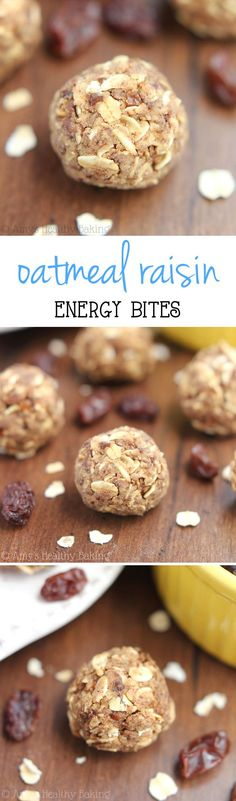 Oatmeal Raisin Energy Bites -- they taste like the cookies but are SO much easier to make! Packed with protein & just 5 ingredients!