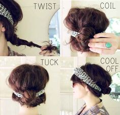 Rock a head scarf (and a pretty, messy updo).