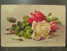 cpa illustrateur signée klein roses