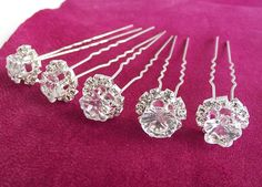 Set of 5 Crystal Hair Pins bridal hair pins crystal by nellylukan, $14.00