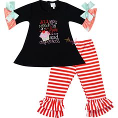 Baby Toddler Little Girls Valentines Day All You Need Is Love and Cupcakes Tunic Pant Set Black/Stripes - 2 - 3T