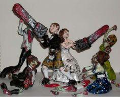 zombie cake topper is a definite must! Fun Wedding Cake Toppers, Wedding Cakes, Wedding Inspiration, Wedding Ideas, Wedding Stuff, Zombie Wedding, Wedding Season, Groom, Trending Outfits