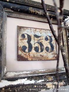 By Cottage Elements showcased on Junk Market Style. Would be darling as house numbers on outside of home. Decoration Palette, Flea Market Decorating, Decorating Ideas, Vintage Numbers, Vintage Signs, Funky Junk, Do It Yourself Home, House Numbers, Letters And Numbers