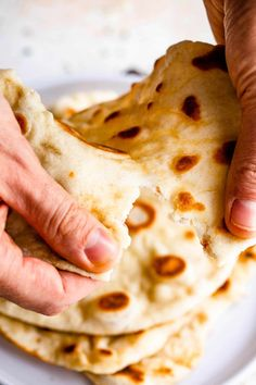 This Easy Two Ingredient Naan Bread is made with just self-rising flour and sour cream. Full of rich flavor and the perfect chewy texture. #naan #pitabread #homemadebread Naan Bread Recipe Easy, Recipes With Naan Bread, Easy Homemade Recipes, Self Rising Flour, Healthy Side Dishes, Indian Food Recipes, Baking Recipes, Easy Meals, Sour Cream