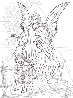 Children Are Protected by Guardian Angel coloring page from Church category. Select from 20946 printable crafts of cartoons, nature, animals, Bible and many more.