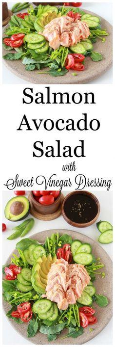 Salmon Avocado Salad with Sweet Vinegar Dressing Best Salad Recipes, Salad Dressing Recipes, Chicken Salad Recipes, Seafood Recipes, Healthy Recipes, Healthy Salads, Amazing Recipes, Eating Healthy, Healthy Food