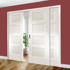 Easi-Slide OP2 White Shaker 4 Panel Sliding Door System in Four Size Widths