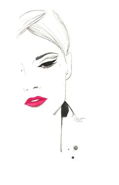 Original watercolor and charcoal fashion illustration by Jessica Durrant titled The Cat's Eye