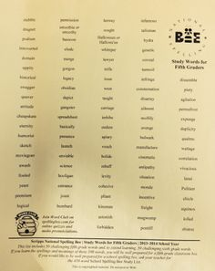 Fifth grade spelling list national spelling bee Spelling Bee Practice, Spelling Bee Games, Fifth Grade Spelling Words, Spelling Bee Word List, Fifth Grade Writing, Spelling Rules, Spelling And Grammar, First Grade Reading, Phonics Flashcards