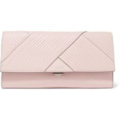 Michael Kors Collection Embroidered leather clutch ($320) ❤ liked on Polyvore featuring bags, handbags, clutches, pastel pink, genuine leather purse, pink clutches, real leather purses, genuine leather handbags and leather handbags