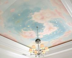 Stunning blue and pink cloudy sky ceiling mural // nursery decor My Room, Girl Room, Salle Pastelle, Cloud Ceiling, Starry Ceiling, Pink Ceiling, Deco Disney, Ceiling Murals, Ceiling Painting