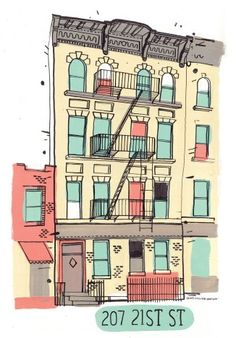 An illustrator is drawing all of the buildings in NY