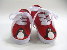 Zapatos de pingüino, mano pintado zapatillas de lona roja, niños o niñas, bebé y niño