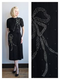 1940s Dress // Sobel Studded Dress // vintage 40s rayon crepe dress by dethrosevintage on Etsy https://www.etsy.com/listing/225879211/1940s-dress-sobel-studded-dress-vintage