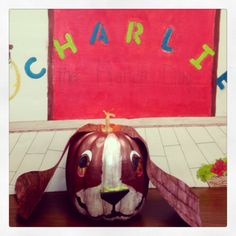 """Pumpkin book character project - """"Charlie the Ranch Dog""""."""