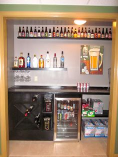 Closet Bar!  This would be GREAT for storing all our homebrew supplies and beer