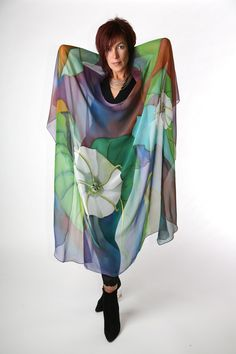 Hand Painted Silk Cape