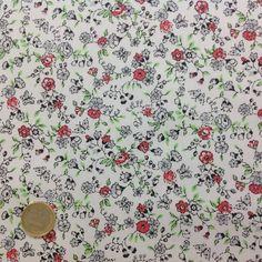 coton liberty fleurs et papillons moyen corail , Coton , Tissus au mètre - Eurotissus, tissu au mètre et mercerie