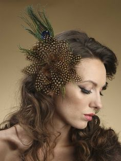 Polka Dot Feather Fascinator with Peacock Plumes - Mariell Bridal Jewelry & Wedding Accessories