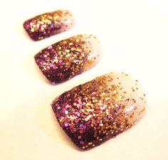 Gold & Purple Glitter Fake Nails - Plum Fairy