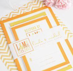 orange and yellow wedding invitations
