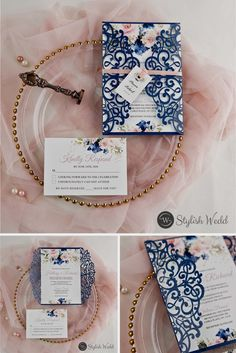 romantic navy blue and pink floral laser cut wedding invitations Blush Wedding Colors, Pink And White Weddings, Mauve Wedding, Affordable Wedding Invitations, Laser Cut Wedding Invitations, Navy Blue Invitations Wedding, Golden Anniversary Gifts, Cherry Blossom Wedding, Cricut Wedding