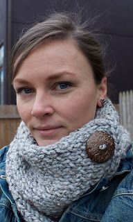 Knit cowl with button - basically a rectangular knit fabric, make a button hole at the corner.