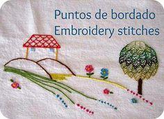 Deshilachado: Puntos de bordado: punto de mosca / Embroidery stitches: fly stitch