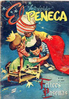 El intrépido Peneca. 1958. Portada de Mario Igor. Nostalgia, Vintage Magazines, Mario, Illustration Art, Childhood, Antiques, Painting, Old Magazines, Bicycle Kick
