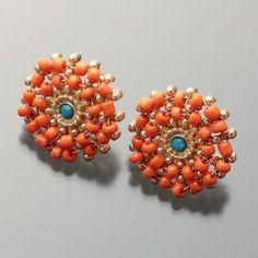 Beads Earrings / ShopStyle: [ジャイロ ホワイト]ビジュー刺繍ピアス