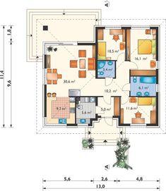 Kwadra - murowana – ceramika - Rzut parteru Three Bedroom House Plan, Modern Bungalow House, Floor Plans, How To Plan, Projects, House, Future House