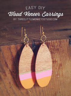 DIY Wood Veneer Earrings made with Cricut Explore - Three Little Monkeys Studio. #DesignSpaceStar Round 2