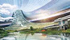 """I like the """"Elysium"""" film's interior concept of eco-friendly space station. A place of healthy lifestyle and no crime. Safe and share community together in peace. Futuristic City, Futuristic Architecture, Mass Effect, Games Design, Syd Mead, Science Fiction Art, Cities, Bioshock, Space Station"""