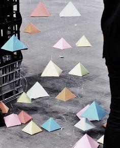 like little floating pyramids, via upon a fold