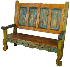 This carved wood bench will enrich any old southwest or Mexican decor. These oversized benches will be a magnificent piece in an entry way, living room or lobby area. Southwestern Benches, Modern Southwest Decor, Southwest Style, Mexican Furniture, Home Decor Furniture, Rustic Furniture, Painted Furniture, Reclaimed Barn Wood, Rustic Wood