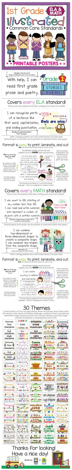 """Common Core Standards posters for first grade math and ELA. Kid-friendly """"I can"""" language and illustrations that """"unpack"""" the standard and make it visual. Cute, not babyish. Hope you like! $"""