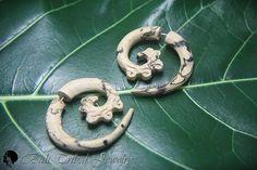 Tribal Earring Fake Gauge, Spiral Faux Gauge Earrings, Tamarind Wood Fake Piercing Wooden Earring W002-3 #etsymntt #fakegauges