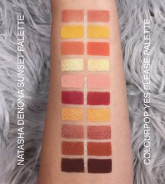 The SWATCHES of my new DUPE / COMPARISON series between @natashadenona #sunsetpalette VS. @colourpopcosmetiques #yesplease palette.  We have 10 shades that are extremely close and they are both so gorgeous ! One of course is so much more affordable !!! I really do think that the Sunset palette blends better. This is extremely easy to work with but in terms of shades they are both almost identical ! More pictures on my page already and SIDE BY SIDE swatches with labels and more later! . DUPE…