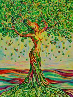 "Painting, ""The Tree of Life / Green Apple""Saatchi Art Artist Margarita Kriebitzsch; Painting, ""The Tree of Life / Green Apple"" Tree Of Life Artwork, Tree Of Life Painting, Tree Art, Apple Painting, Acrylic Painting Canvas, Goddess Art, Painting Inspiration, Saatchi Art, Fantasy Art"