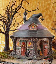 DEPT 56 HALLOWEEN VILLAGE - HILDA'S WITCH HAUNT - LIT COLLECTIBLE - NEW FOR 2012 Halloween Fairy, Halloween Haunted Houses, Halloween Items, Halloween House, Holidays Halloween, Halloween Crafts, Halloween Decorations, Halloween Village Display, Halloween Miniatures