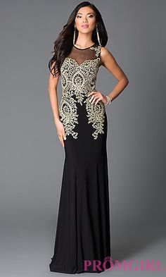 Long Sheer Illusion Beaded Dress at PromGirl.com