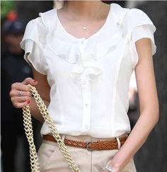 Cheap chiffon blouse, Buy Quality blouse fashion directly from China blouses plus Suppliers: Plus Size New Summer Women Blusas Fashion Short Sleeve Ruffles Chiffon Blouse Solid White Tops Blusas Casual Summer Blouses Ruffles, Chiffon Ruffle, Chiffon Shirt, Chiffon Tops, Ruffle Blouse, White Chiffon, Ruffle Collar, Sleeveless Tunic, Chiffon Cardigan