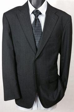 (40R) Suit Jacket | Men's Charcoal Striped 2 Button Sport Coat #TownCountry #TwoButton