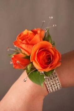 Orange Rose Corsage Prom <b>corsage</b> ideas . Prom Bouquet, Prom Corsage And Boutonniere, Corsage Wedding, Flower Corsage, Boutonnieres, Diy Corsages, Homecoming Flowers, Homecoming Corsage, Prom Flowers