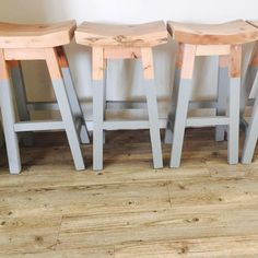700mm high with 50mm thick seat. All reclaimed Oregon and solid. Rustic