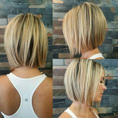 Finishing a few inches below the ear length with a lovely straight line at the ends of the hair. The locks are parted to the side, and highlighted with a stunning white blonde and caramel to add lift and light to this beautiful finish.