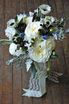 Black & white bridal bouquet, garden rose, anemones, vintage bridal bouquet, lace ribbon wrap